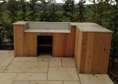 Cedar clad outdoor kitchen