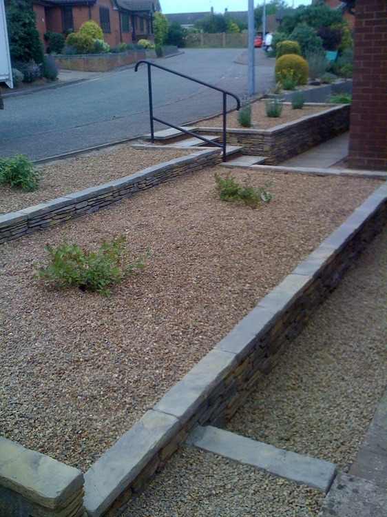 Front garden stone wall